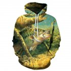 Women Men Loose 3D Underwater World Fish Printing Hooded Jacket Pullover  Photo Color_XL