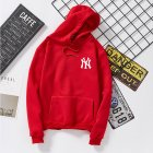 Women Men Loose Long Sleeve Casual Sports Fleece Sweatshirts Coat red_L