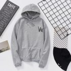 Women Men Lovers Fashion Thicken Loose Fleece Long Sleeve Hooded Sweatshirt gray XXL
