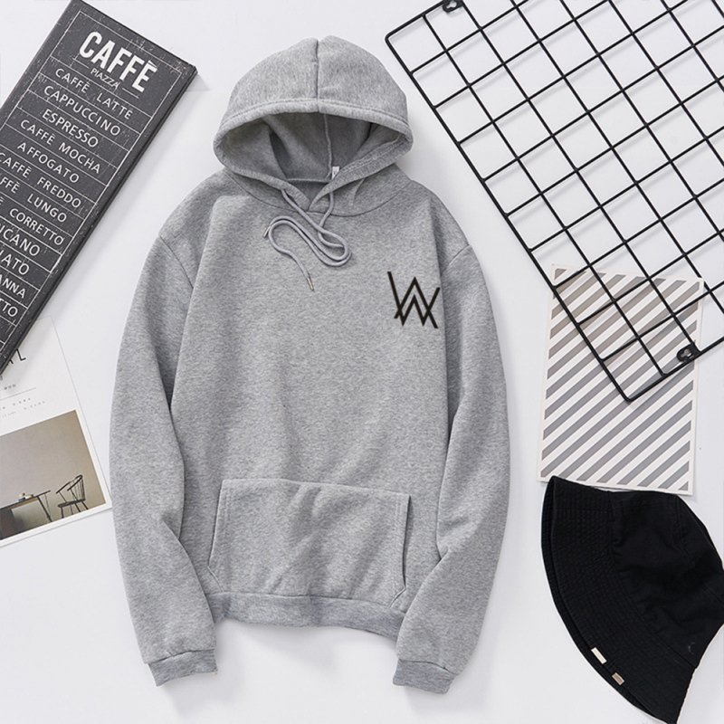 Women Men Lovers Fashion Thicken Loose Fleece Long Sleeve Hooded Sweatshirt gray_XXL