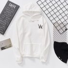 Women Men Lovers Fashion Thicken Loose Fleece Long Sleeve Hooded Sweatshirt white M