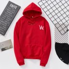 Women Men Lovers Fashion Thicken Loose Fleece Long Sleeve Hooded Sweatshirt red_L
