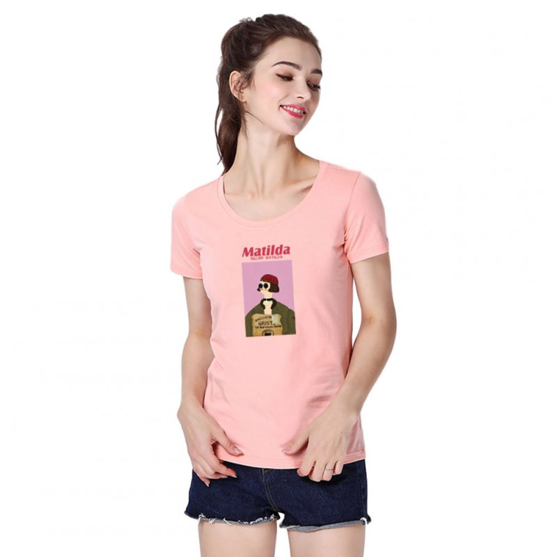Women Men T Shirt Fashion Loose Short Sleeve Tops for Couple Lovers Pink female_XL