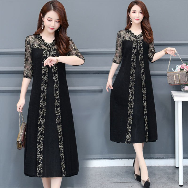 Women Lace A-line Casual Dress - Black M
