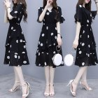 Women Midi Dress V-neck Polka Dot High Waist Irregular Short Ruffle Sleeves Summer Dress Black_L