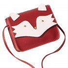 Women Mini Cellphone Bag Satchel Cartoon PU Leather Combined Color Single Strap Square Bag red