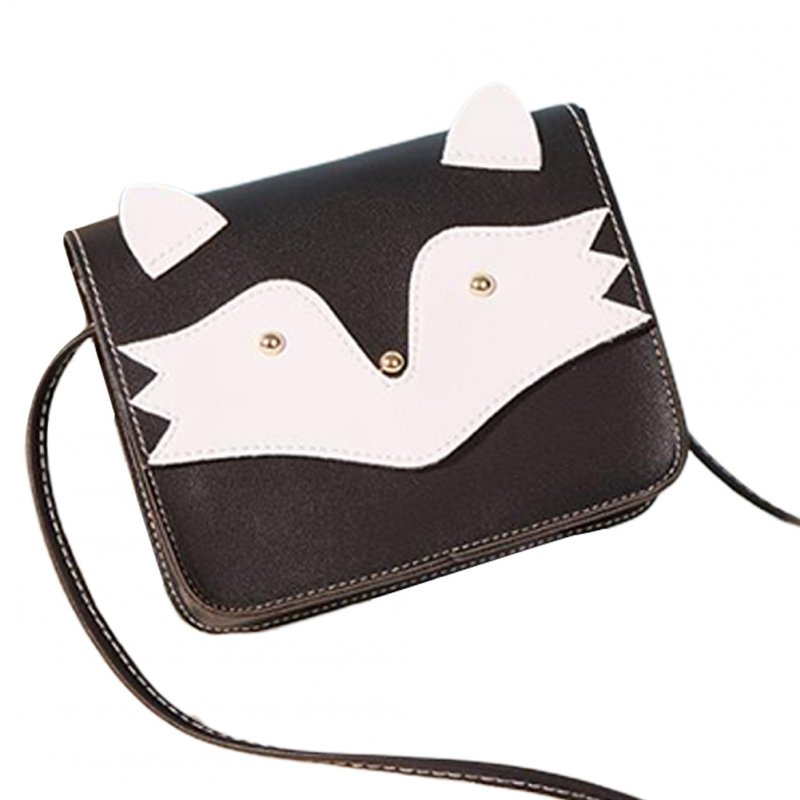 Women Mini Cellphone Bag Satchel Cartoon PU Leather Combined Color Single Strap Square Bag black