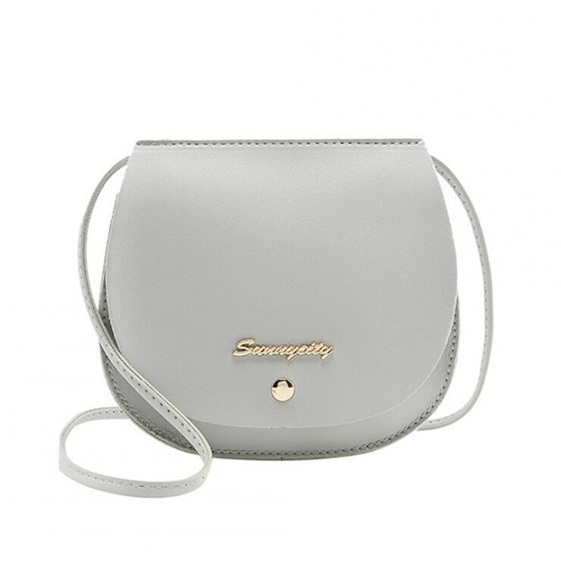 Women Mini Round Bag Satchel PU Leather Solid Color Single Strap Simple Cross-body Bag gray