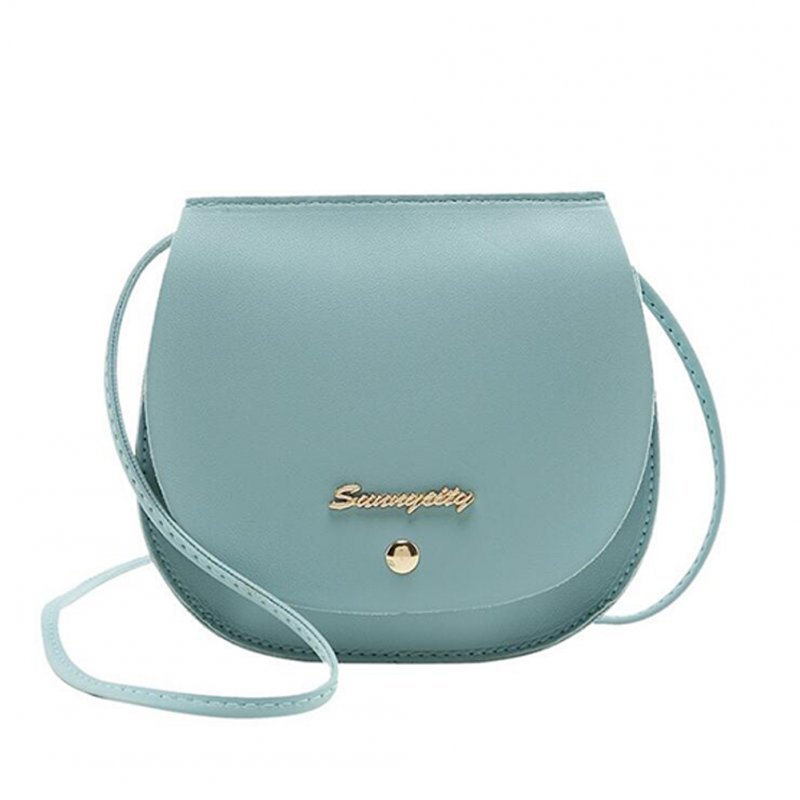 Women Mini Round Bag Satchel PU Leather Solid Color Single Strap Simple Cross-body Bag blue
