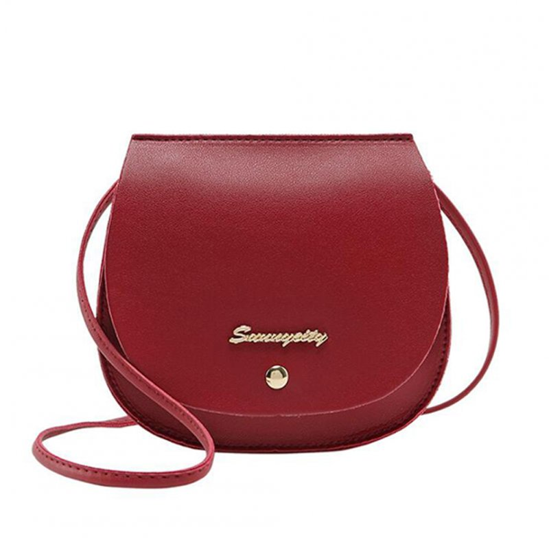 Women Mini Round Bag Satchel PU Leather Solid Color Single Strap Simple Cross-body Bag red
