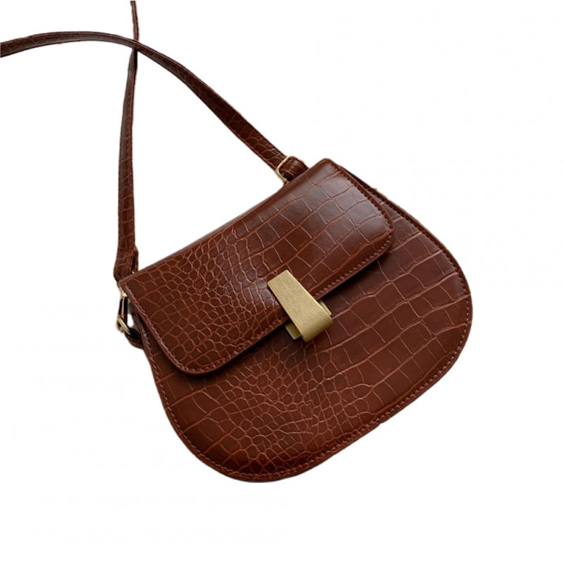 Women Mini Satchel PU Leather Retro Print Single Strap Cross-body Saddle Bag Light Brown