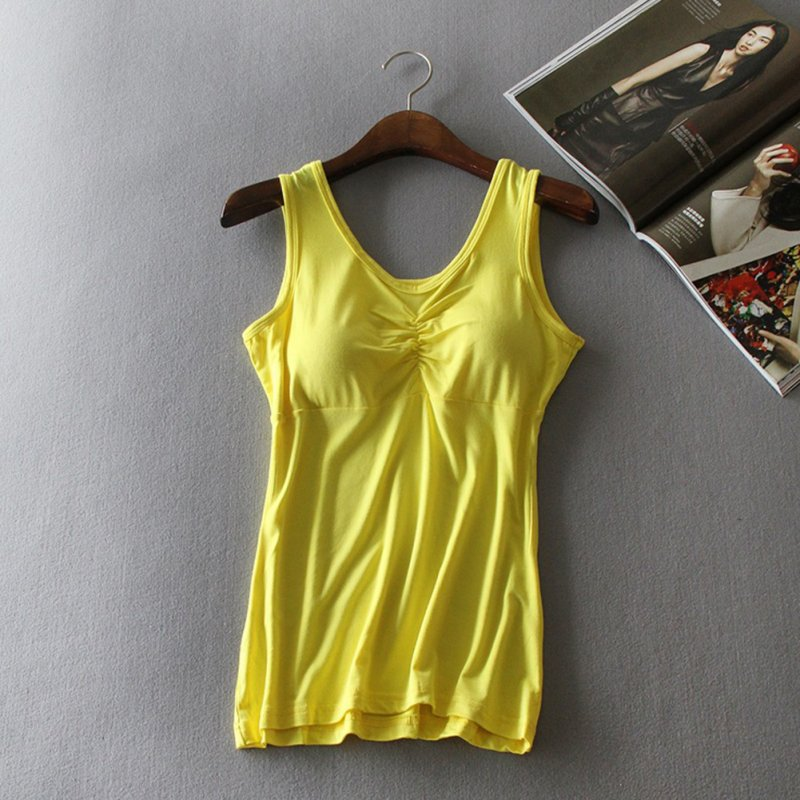 Women Modal Chest Pad Camisole Vest Without Steel Ring for Yoga Sports Bright yellow_One size