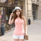 Women Modal Chest Pad Camisole Vest Without Steel Ring for Yoga Sports Meat pink_One size