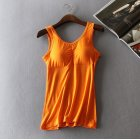 Women Modal Chest Pad Camisole Vest Without Steel Ring for Yoga Sports Orange_One size