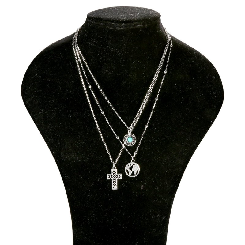 Women Necklace 3-layer Cross Map Turquoise Pendant Alloy Clavicle Necklace Chain Jewelry Silver