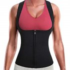 Women Neoprene Zipper Suit Waist Trainer Vest for Weightloss Hot Thermal Corset  black_3XL