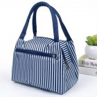 Women New fashion zipper portable insulation bag cartoon waterproof lunch bag with aluminum foil insulation lunch bag blue stripes