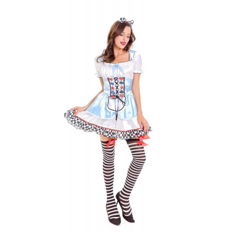 Women Oktoberfest Poker Dress with Headdress Cosplay Halloween Party Costumes Blue and white_One size