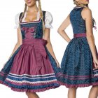 Women Oktoberfest Style Halloween Costume Bavarian Dirndl Style Dress Dark blue_XL