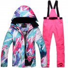 Women Padded Waterproof And Windproof Warm Ski Suit Set Two-piece Jacket Top+ Pants Tops + bright pink pants_S