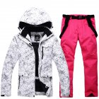 Women Padded Waterproof And Windproof Warm Ski Hiking Suit Set Two piece Jacket Coat Top  Pants Tops   bright pink pants M