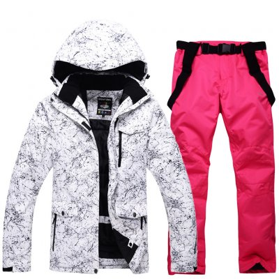 Women Padded Waterproof And Windproof Warm Ski Hiking Suit Set Two-piece Jacket Coat Top+ Pants Tops + bright pink pants_M