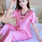 Women Pajamas Sets Thin Pants Short Sleeve Tops Sleepwear Suit watermelon red_L