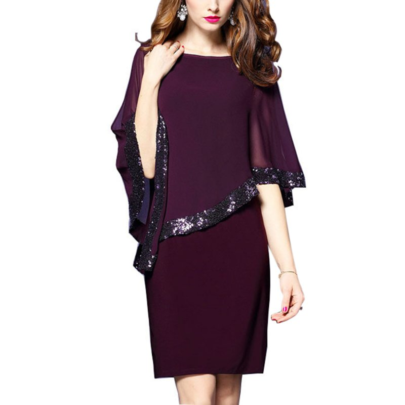 Women Patchwork Stitching Sequin Fold Dress