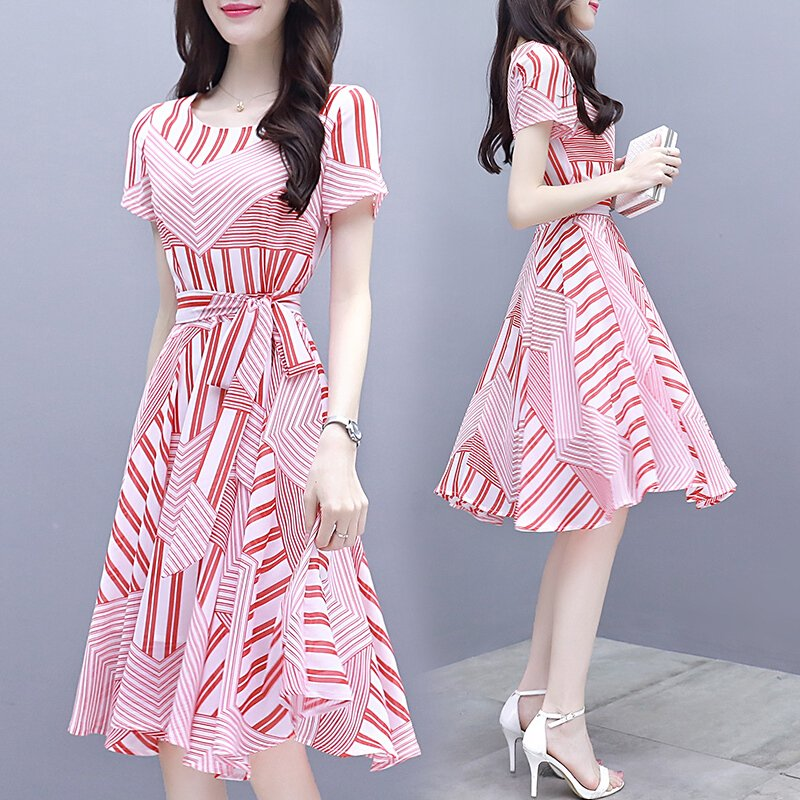 Women Tight Waist Short Sleeve Dress