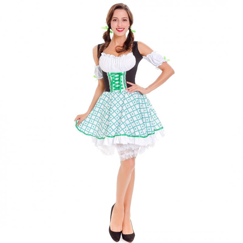 Women Plaid Pattern Oktoberfest Style Dirndl Dress Bavarian Off-shoulder Costume Dress green_M