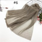 Women Pleat Solid Color Thin Gauze Scarf Muslim Shawl 6#_180cm