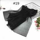 Women Pleat Solid Color Thin Gauze Scarf Muslim Shawl 19#_180cm