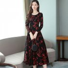 Women Plus Size Midi Dress Printing Floral Crew Neck Knee Length Long Sleeve Dress red_L