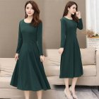 Women Plus Size Ribbon Midi Dress Solid Color Crew Neck Knee Length Short Sleeve Dress green 2XL