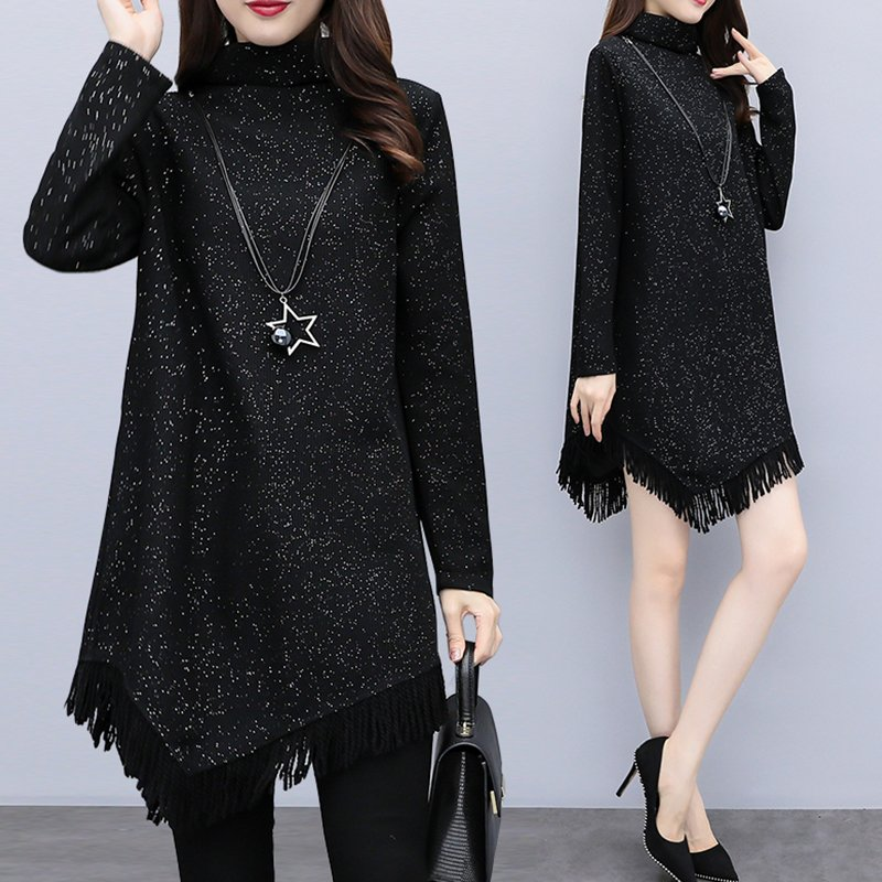 Women Plus Size Short Dress Starry Sky Irregular Hem Tassel Turtle Neck Long Sleeve Dress black_XL