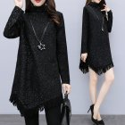 Women Plus Size Short Dress Starry Sky Irregular Hem Tassel Turtle Neck Long Sleeve Dress black_3XL