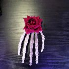 Women Punk Rock Halloween Cosplay Party Skeleton Hand Bone Hair Clip Big Hairpin  safflower