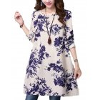 Women Retro Style Long Sleeve Casual Dress Cotton Linen Round Collar Dress   Blue M