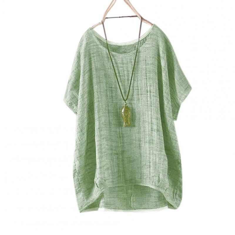 Women Round Collar Casual Flax Tops