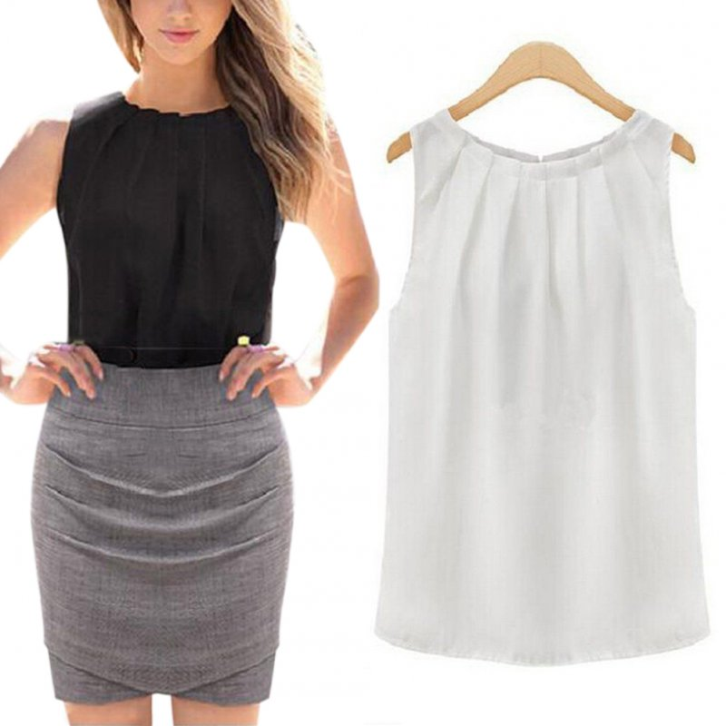 Women Round Neck Sleeveless Chiffon Shirt