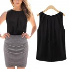 Women Round Neck Sleeveless Chiffon Shirt Pullover Stylish Base Shirt Tops Gift  black S
