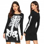 Women Sex Long-Sleeved Skeleton Round Collar Dresses for Cosplay Halloween Party  black_L