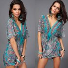 Women Sexy Beach Printing Short Dress V Collar Short Sleeve Dress green_One size