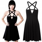 Women Sexy Front Hollow Five Point Star Strapless Dress Halloween Costume black S