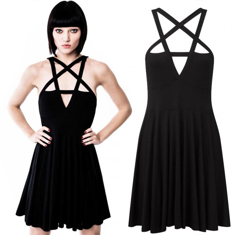 Women Sexy Front Hollow Five Point Star Strapless Dress Halloween Costume black_S