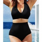 Women Sexy Halter Top Bikini Set Bandage Big Size High Waisted Swimsuit Plus Bathing Suit Girl Swimwear black_L