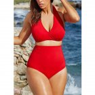 Women Sexy Halter Top Bikini Set Bandage Big Size High Waisted Swimsuit Plus Bathing Suit Girl Swimwear red_L