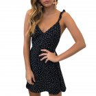 Women Sexy High Waist Dot Printing Back Lacing Straps Dress black S