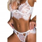 Women Sexy Lace Underwear Set Seductive Bra + T-back Pajamas Gift Sex Toy white_L