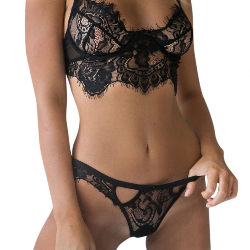 Women Sexy Lace Underwear Set Seductive Bra + T-back Pajamas Gift Sex Toy black_S